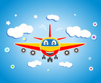 Cartoon Plane Vector Front View