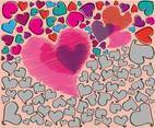Cheerful Hearts Background Vector
