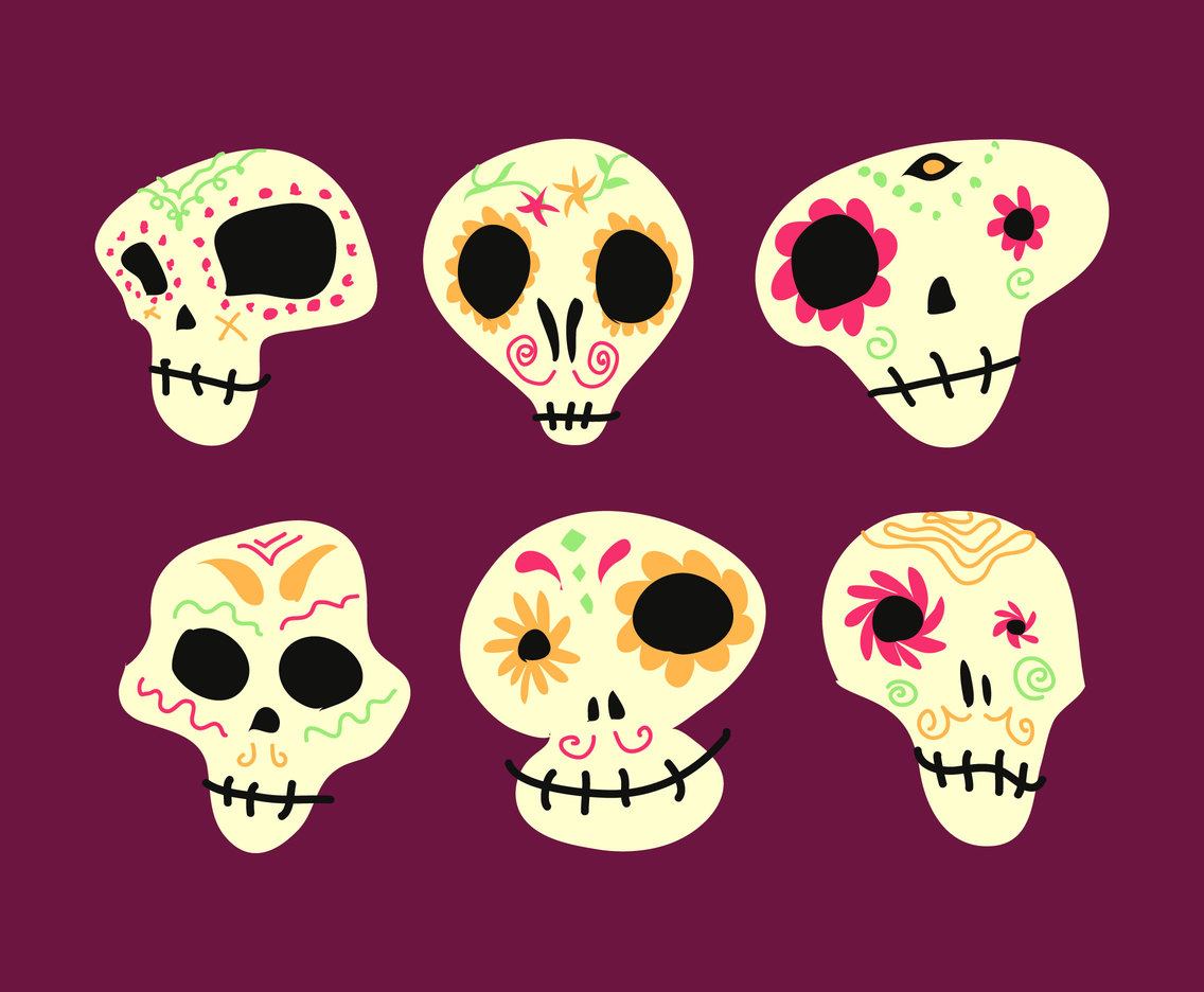 Mexican Skull Illustration Vector