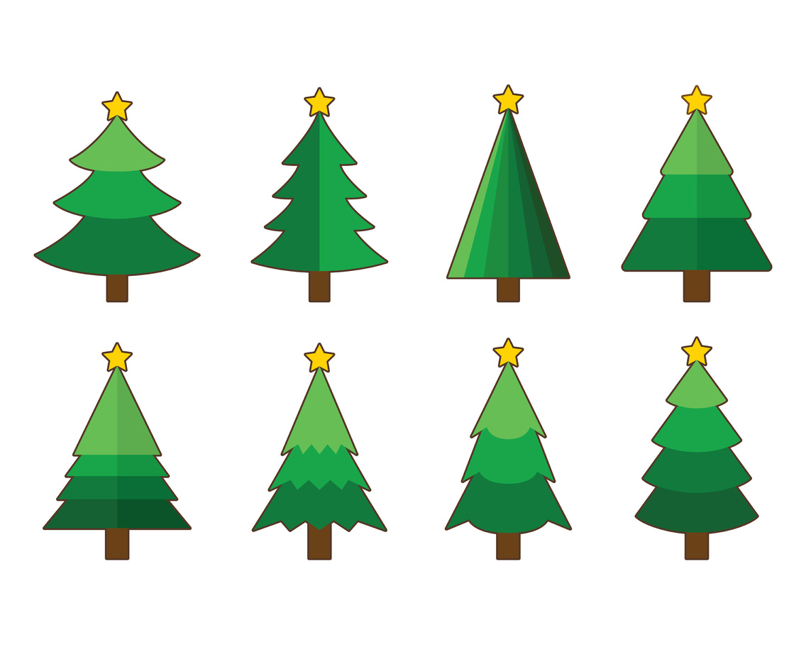 Set Of Cartoon Christmas Tree Vector