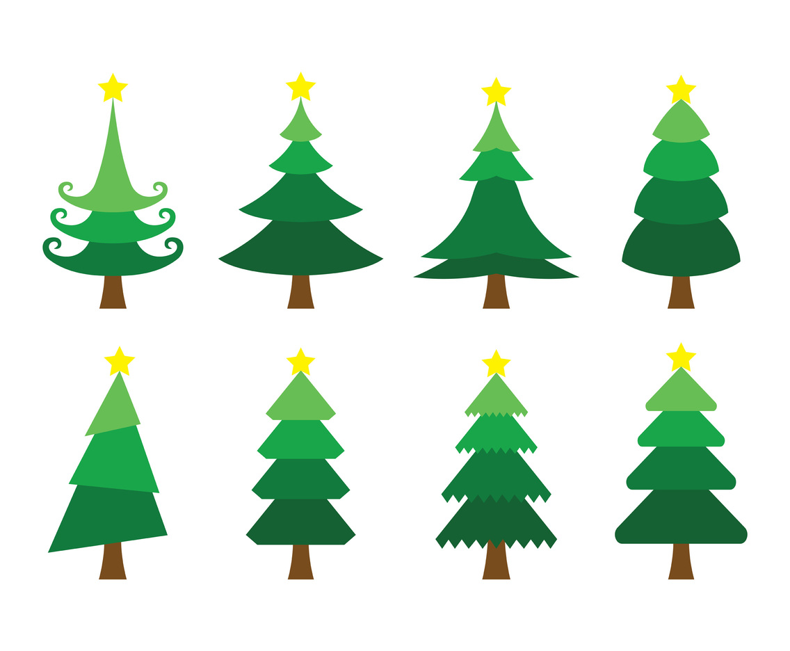 set of cartoon christmas tree vector vector art graphics freevector com cartoon christmas tree vector vector