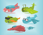 Cartoon Plane Vector Set