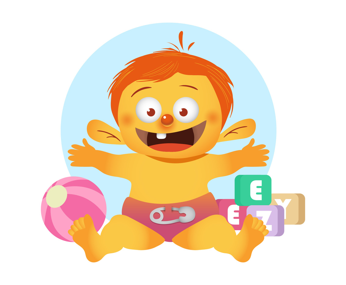 Baby Cartoon with Kid Toys Vector