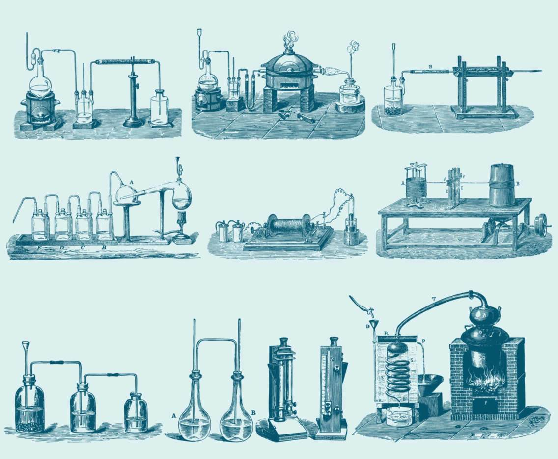 Blue Chemistry Tool Illustrations