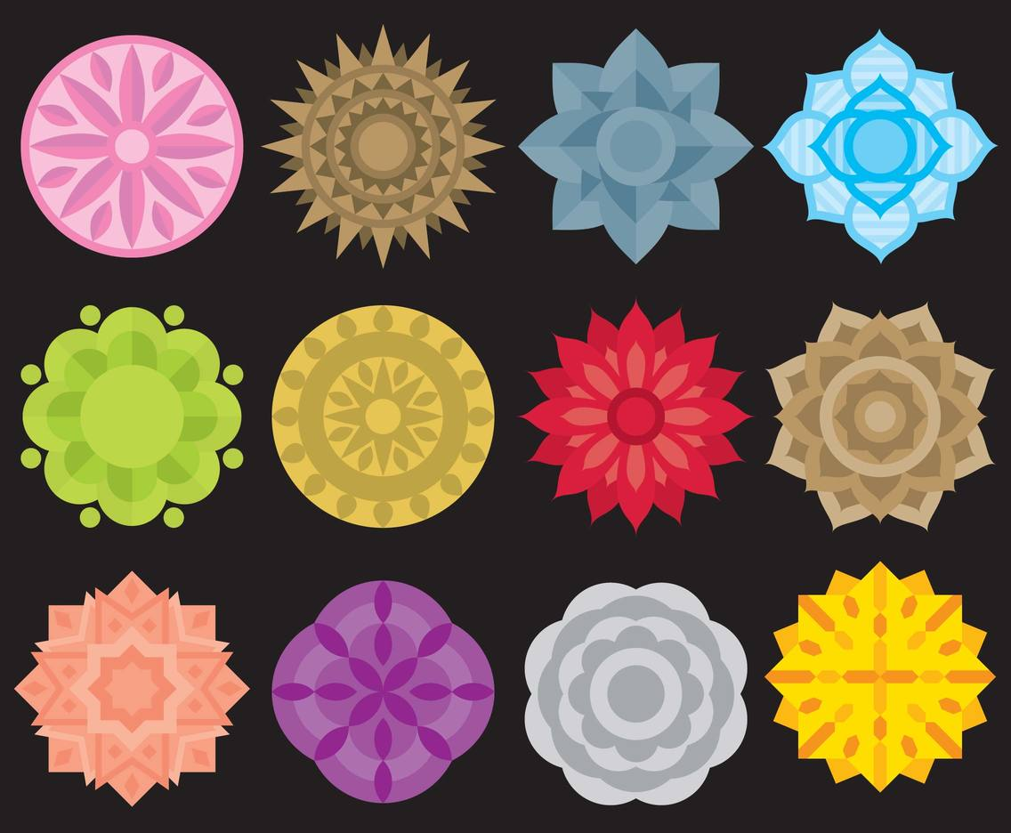 Colorful Mandala Icons