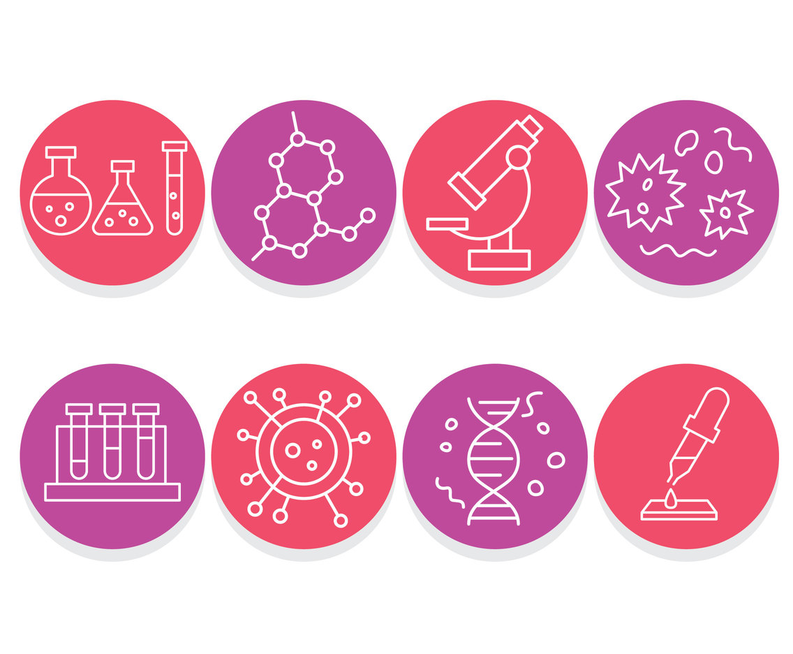 Science Element Circle Icons