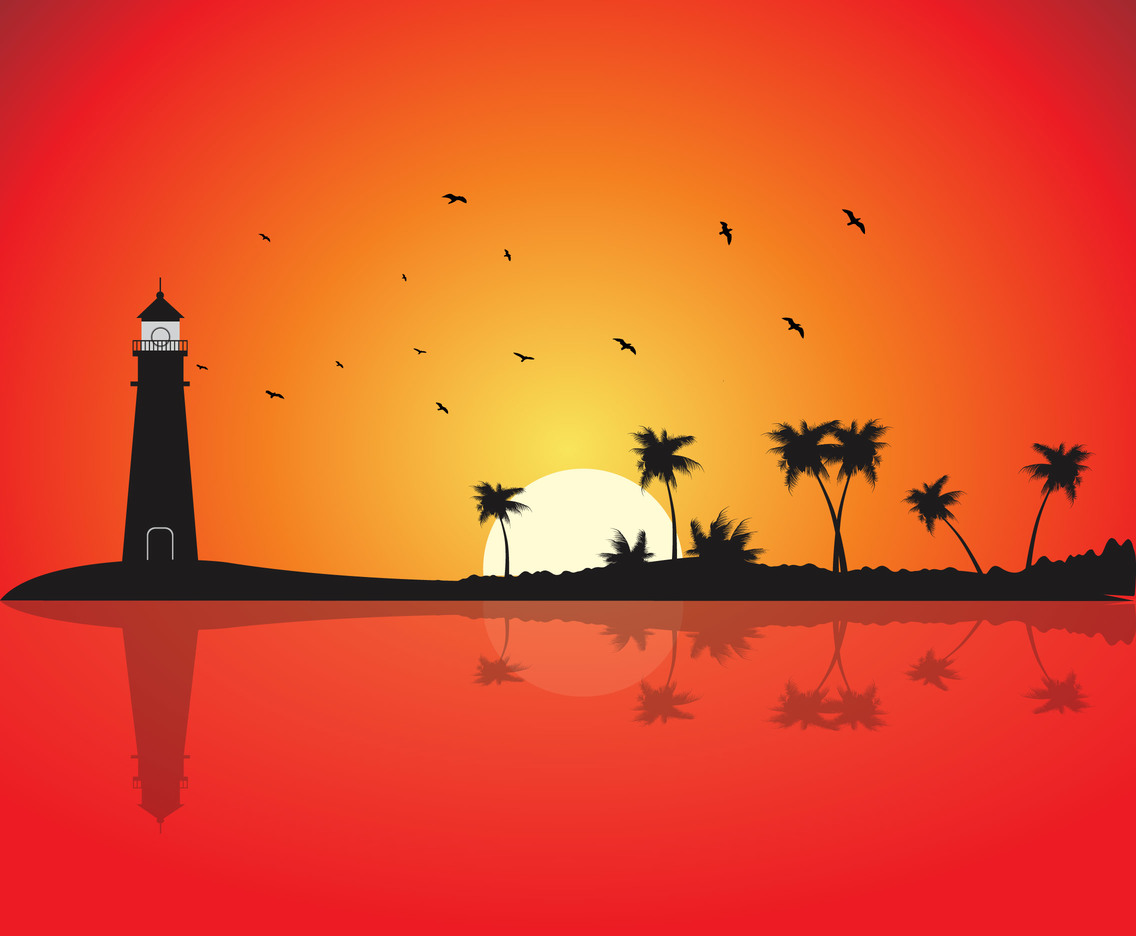 Lighthouse sunset background vector