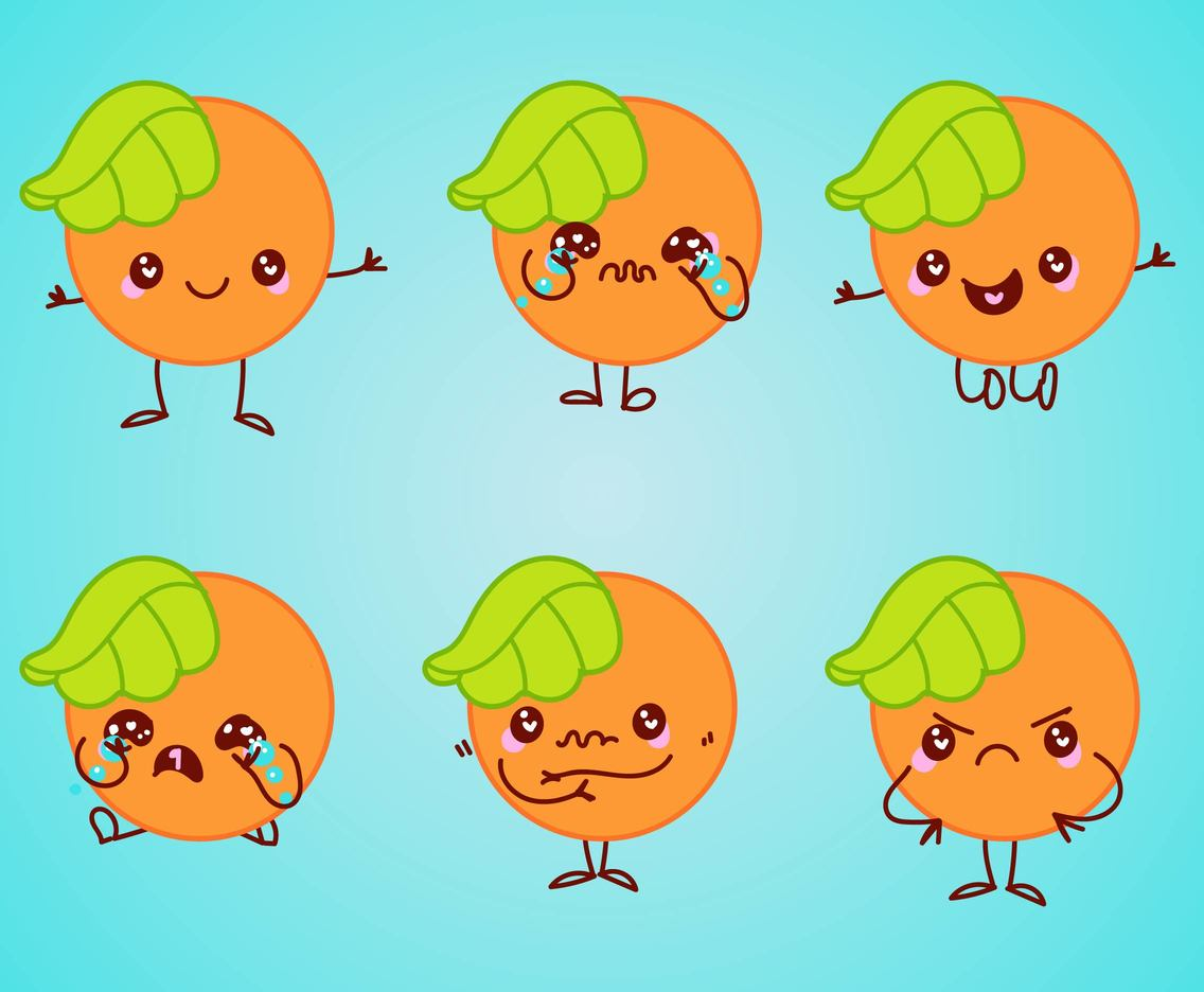 Cute Cartoon Oranges