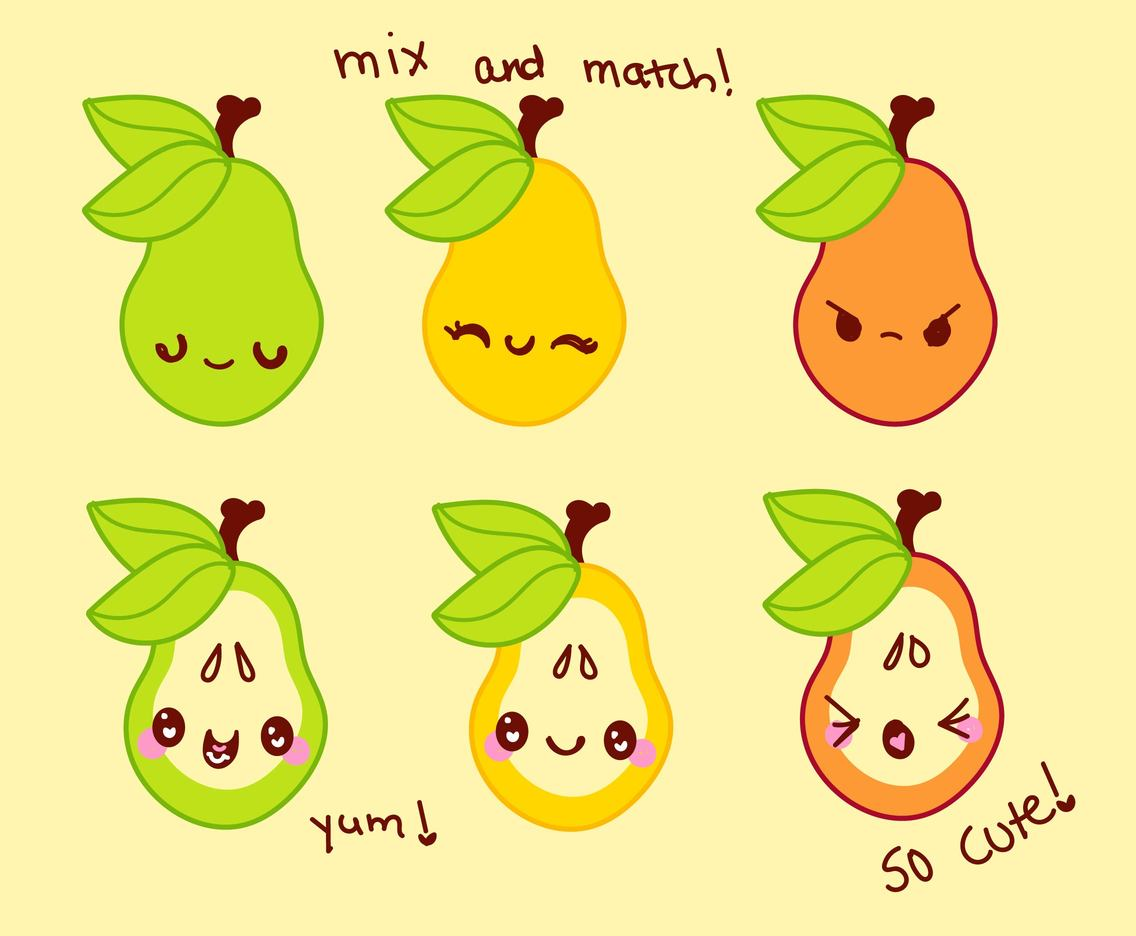 Cute Cartoons: Pear Set