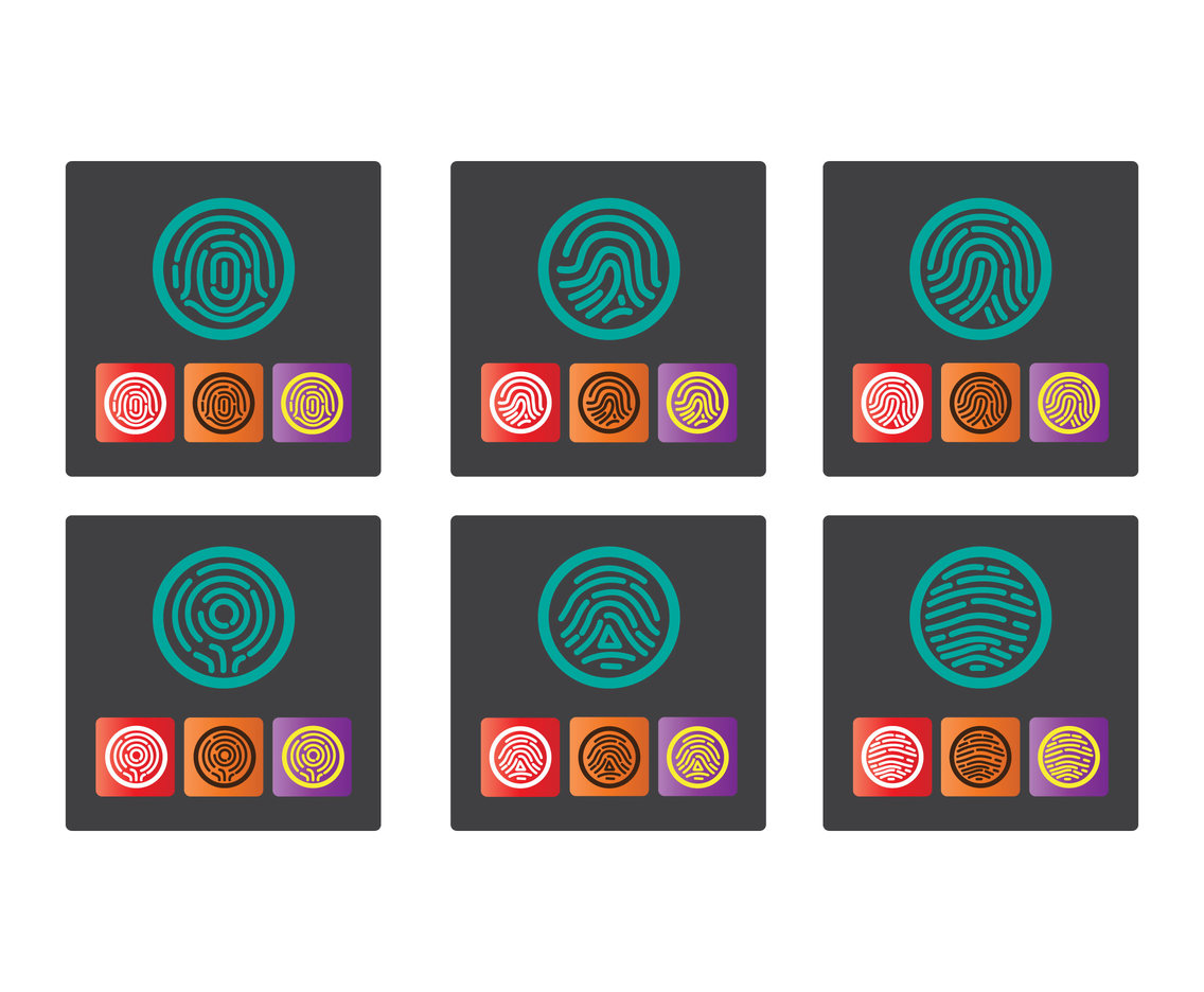 Fingerprint icon vector set