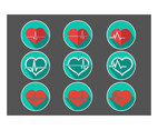 Heartbeat Flat icon vector set
