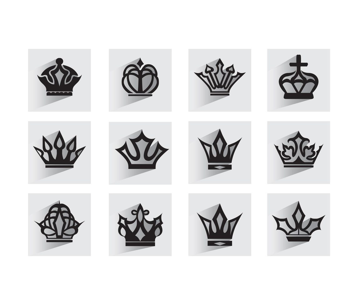 Cartoon crown silhouettes