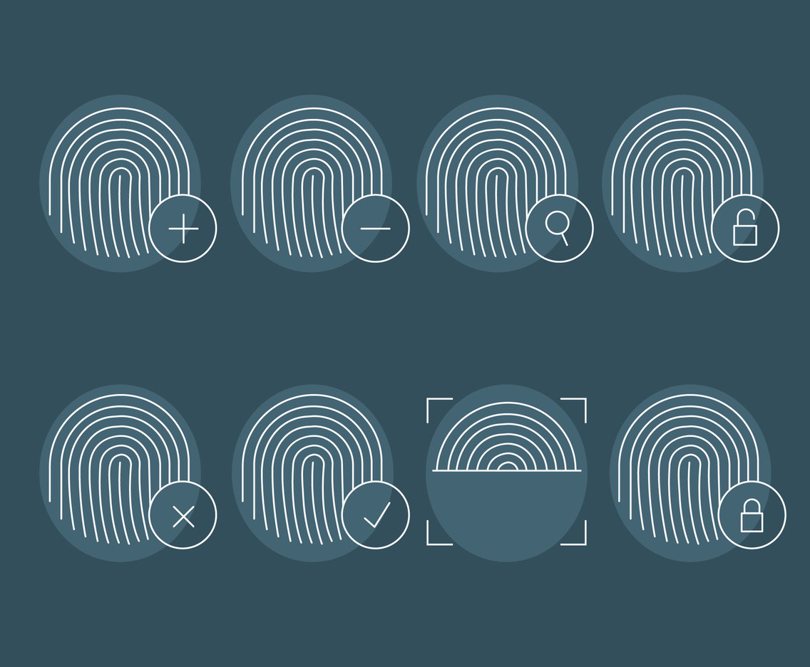 Finger Print Tin Outline Icons Vector