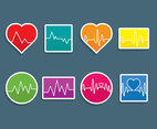 Colorful Heartbeat Icons Vector