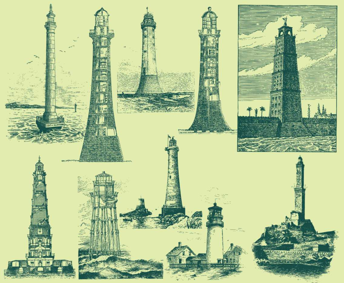 Green Vintage Lighthouse Illustrations