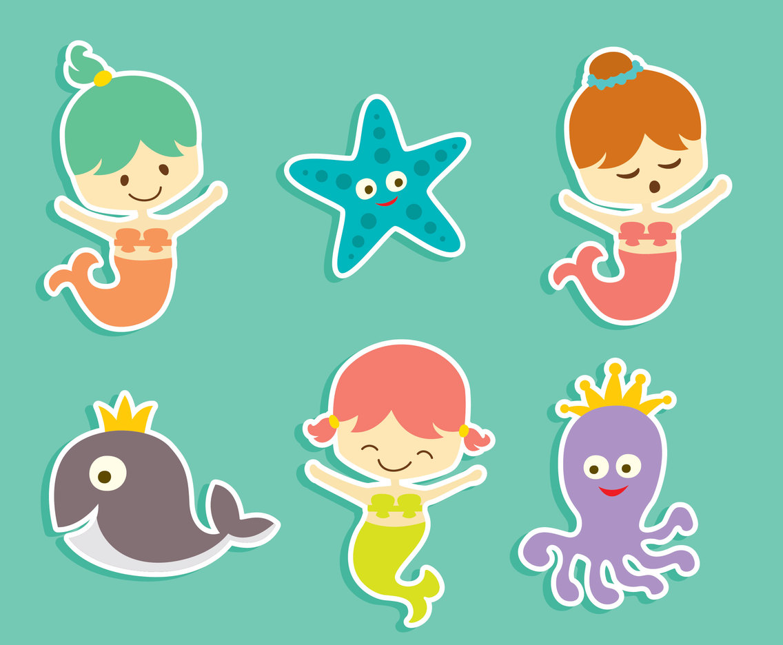 Cute Memrmaid And Sea Creature Vector