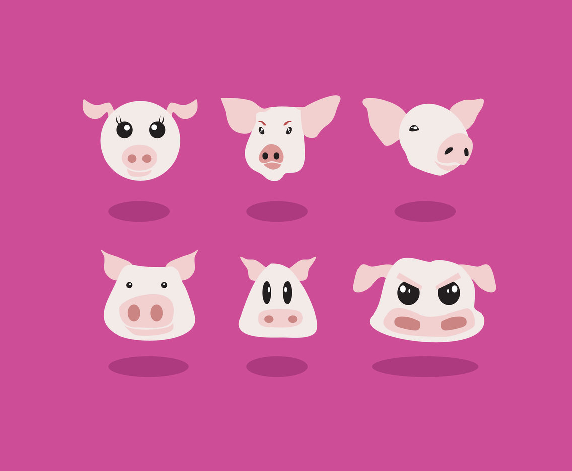 Pig Heads Vector