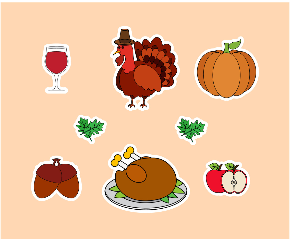 Thanksgiving Turkey vector set