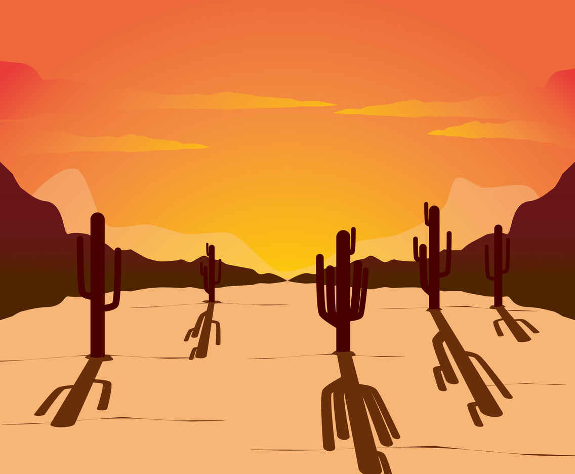 Illustration cartoon sunset with cactus