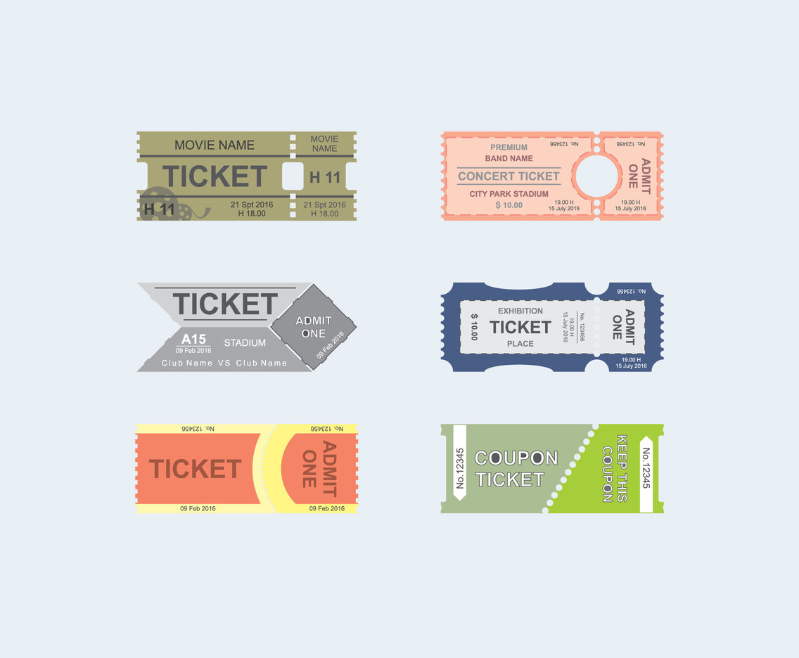 Ticket Templates Vector