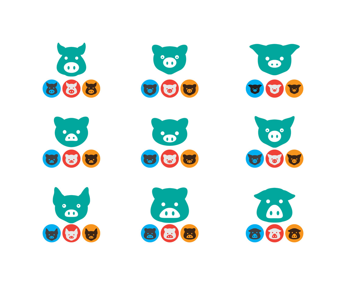 Set Vector stock icon Pig