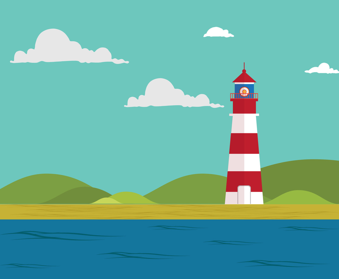 Lighthouse flat vector illustration