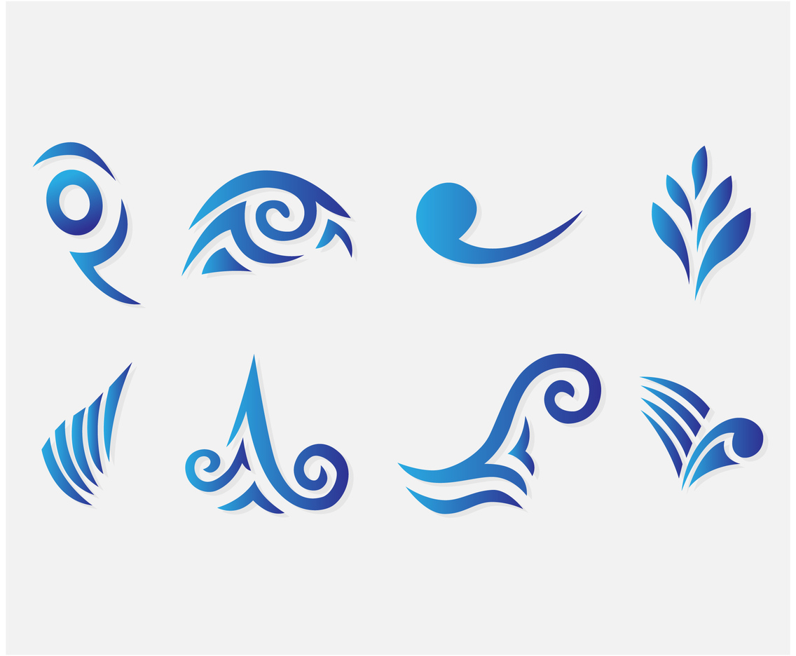 Blue Curlicues Vector Set
