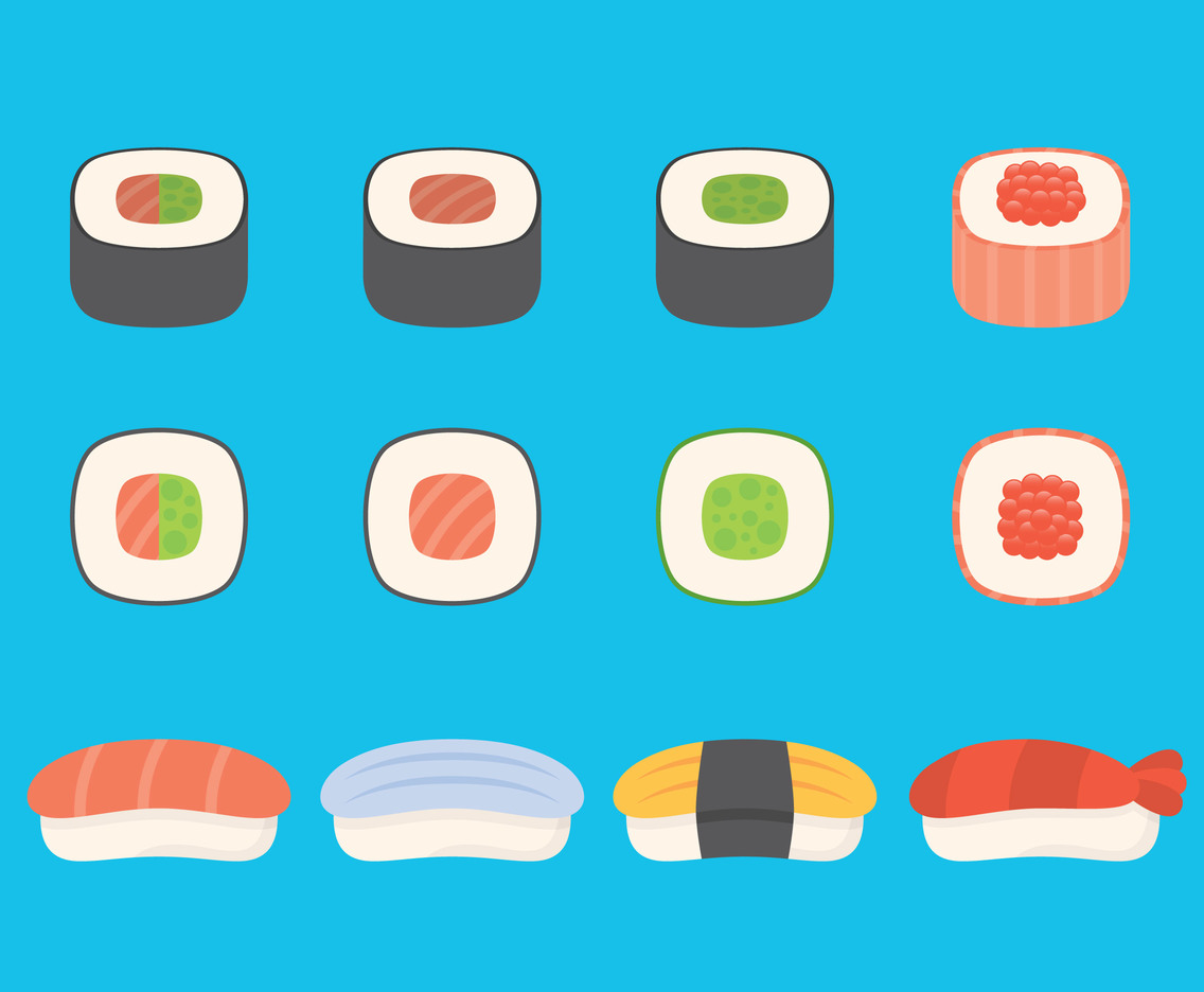 Colorful Sushi And Sashimi Icons