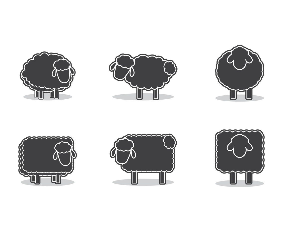 Six Sheep silhouette set