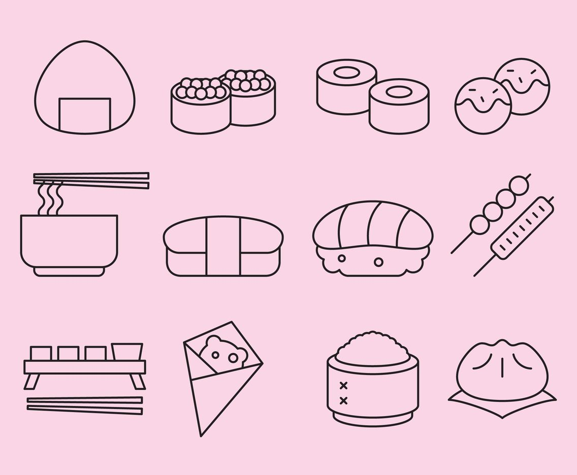 Orient Food Line Icons