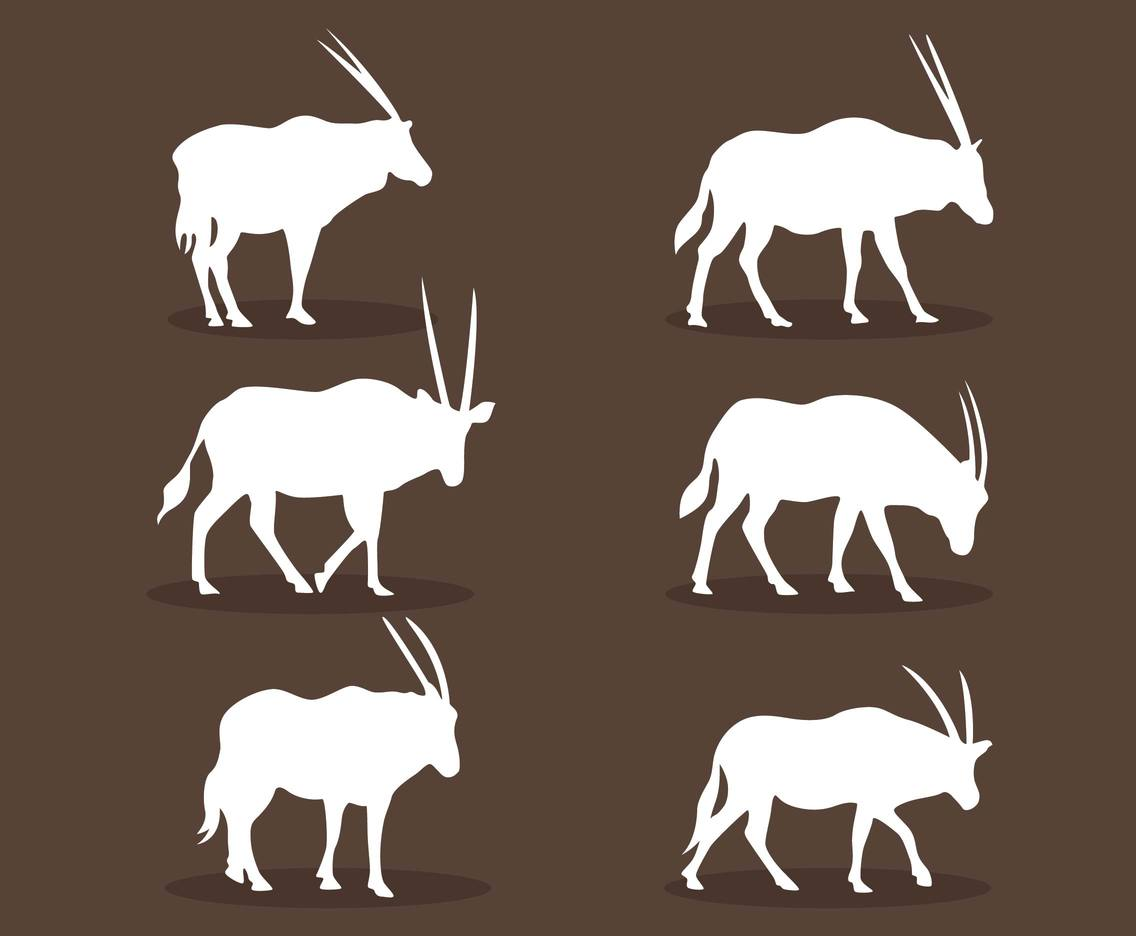 Oryx Silhouette Vector Set