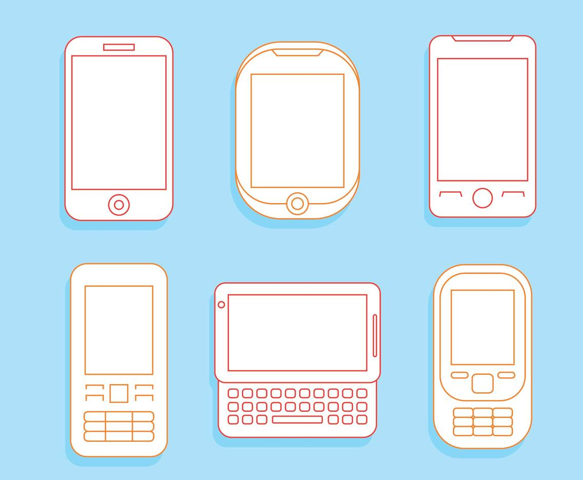 Cell Phone Line Icons Vector