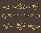 Golden Curlicues Florish Ornament Vector Set