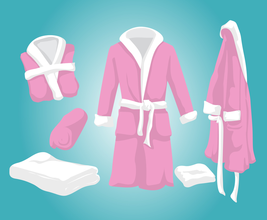 Pink Bathrobe Vector Set