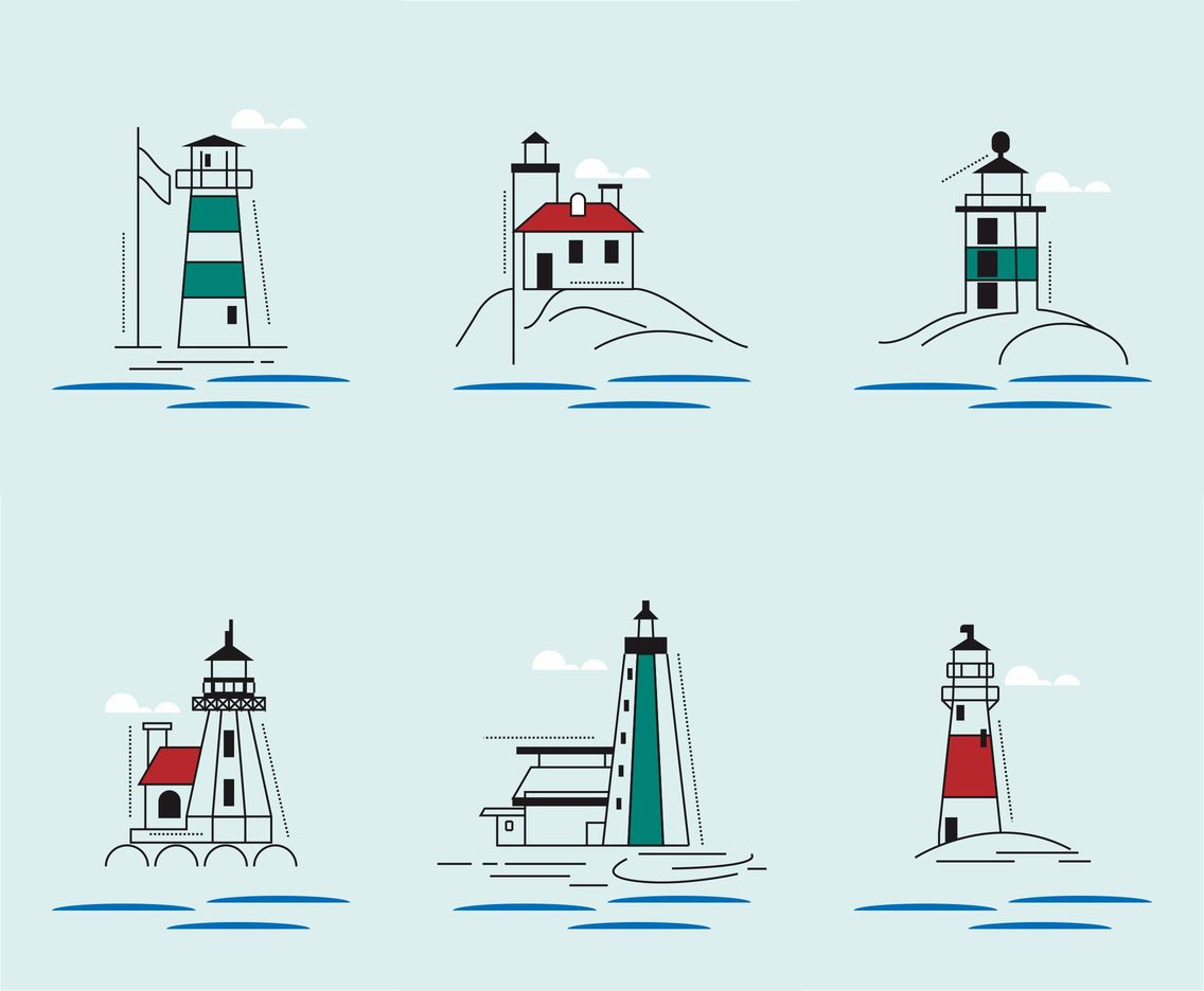 Red + Green Lighthouse Vectors
