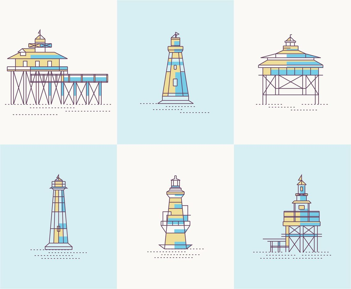 Lighthouse and Pier Vectors