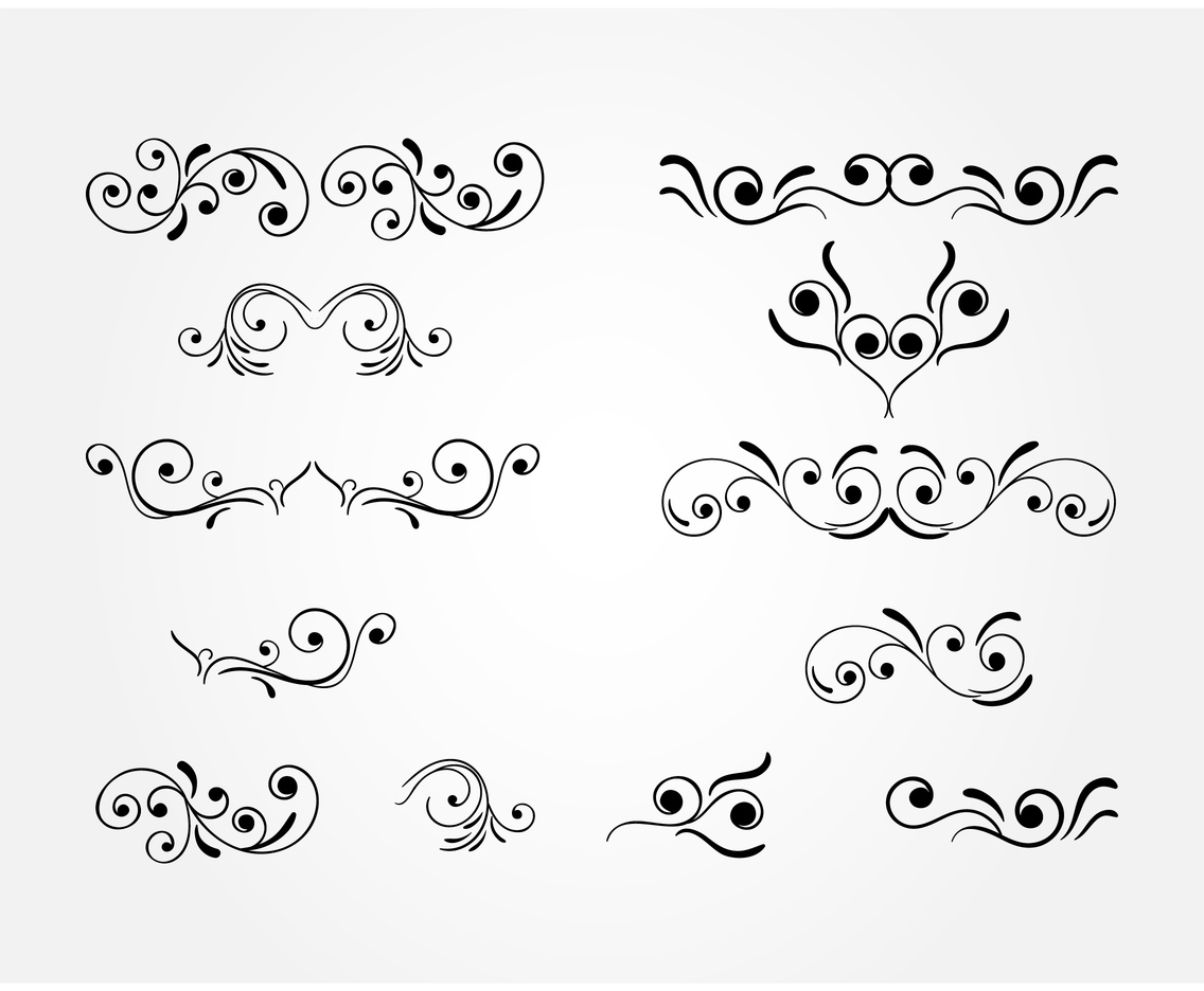 Black Curlicues Vector set