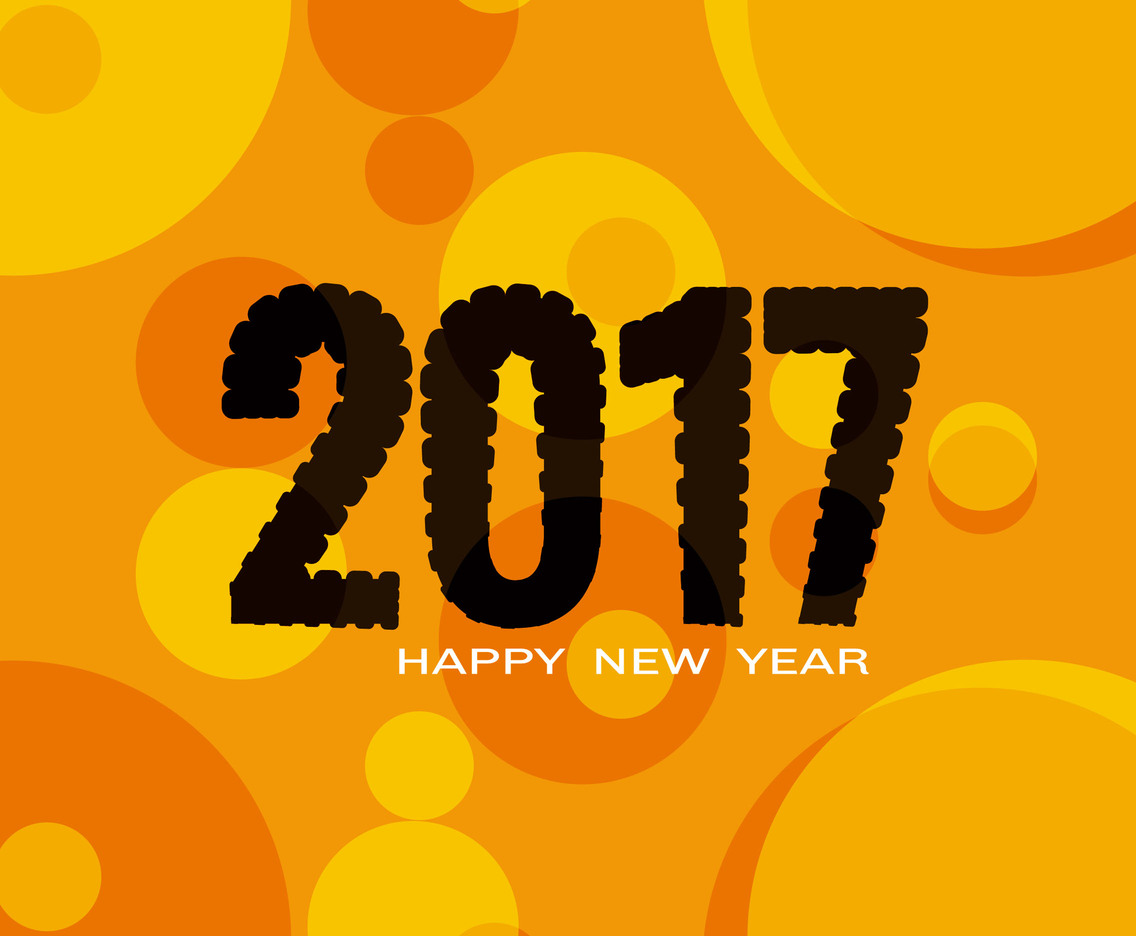 Free Vector Happy New Year 2017 Orange Background