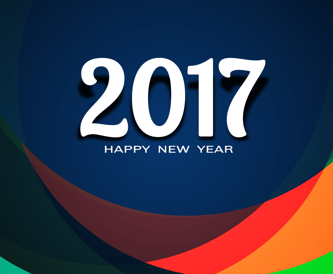 Free Vector New Year 2017 Colorful Background