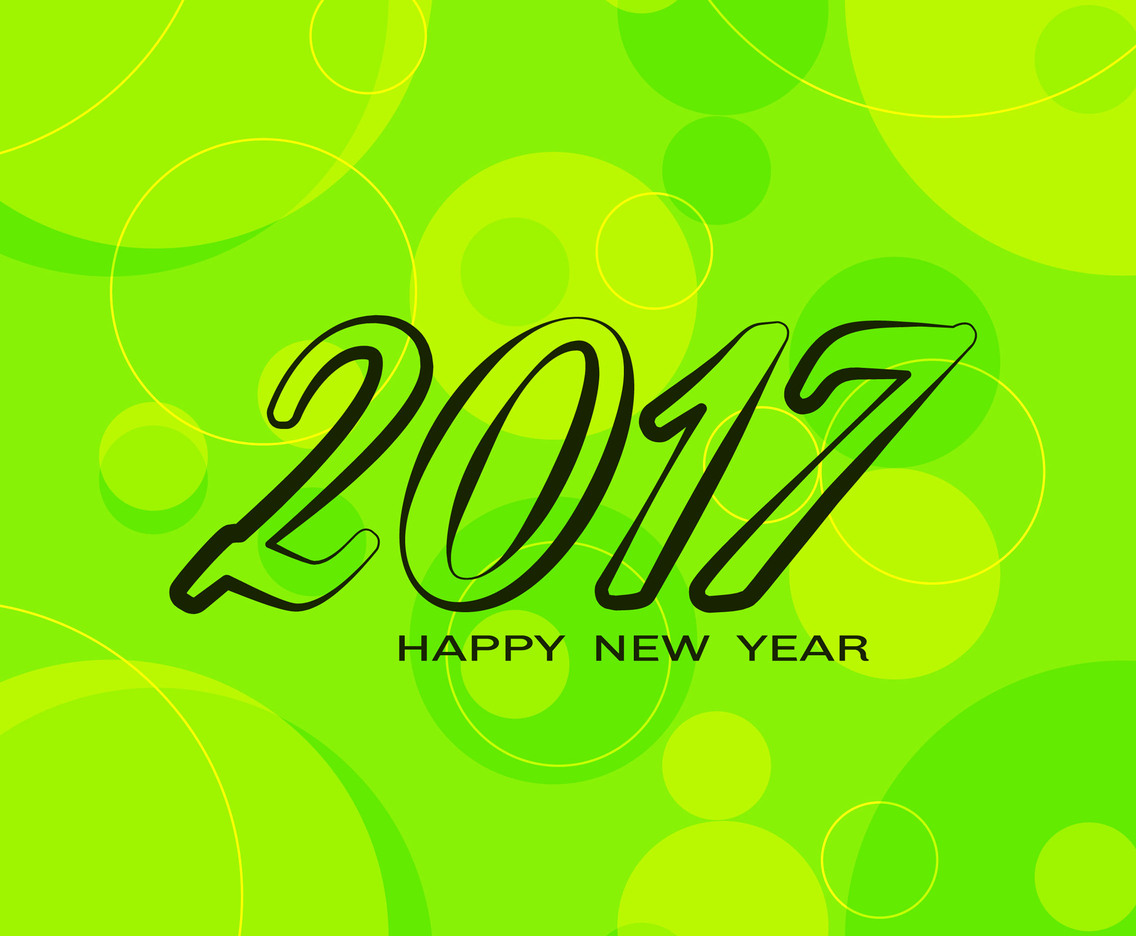 Free Vector New Year 2017 Green Background