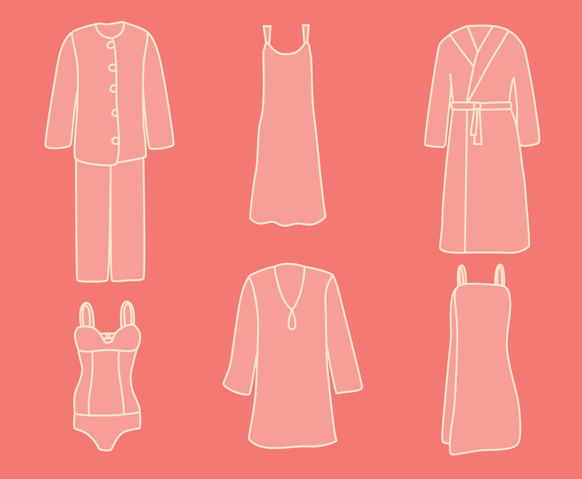 Woman Homewear Icons Vector