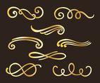 Golden Curlicues Vector Set