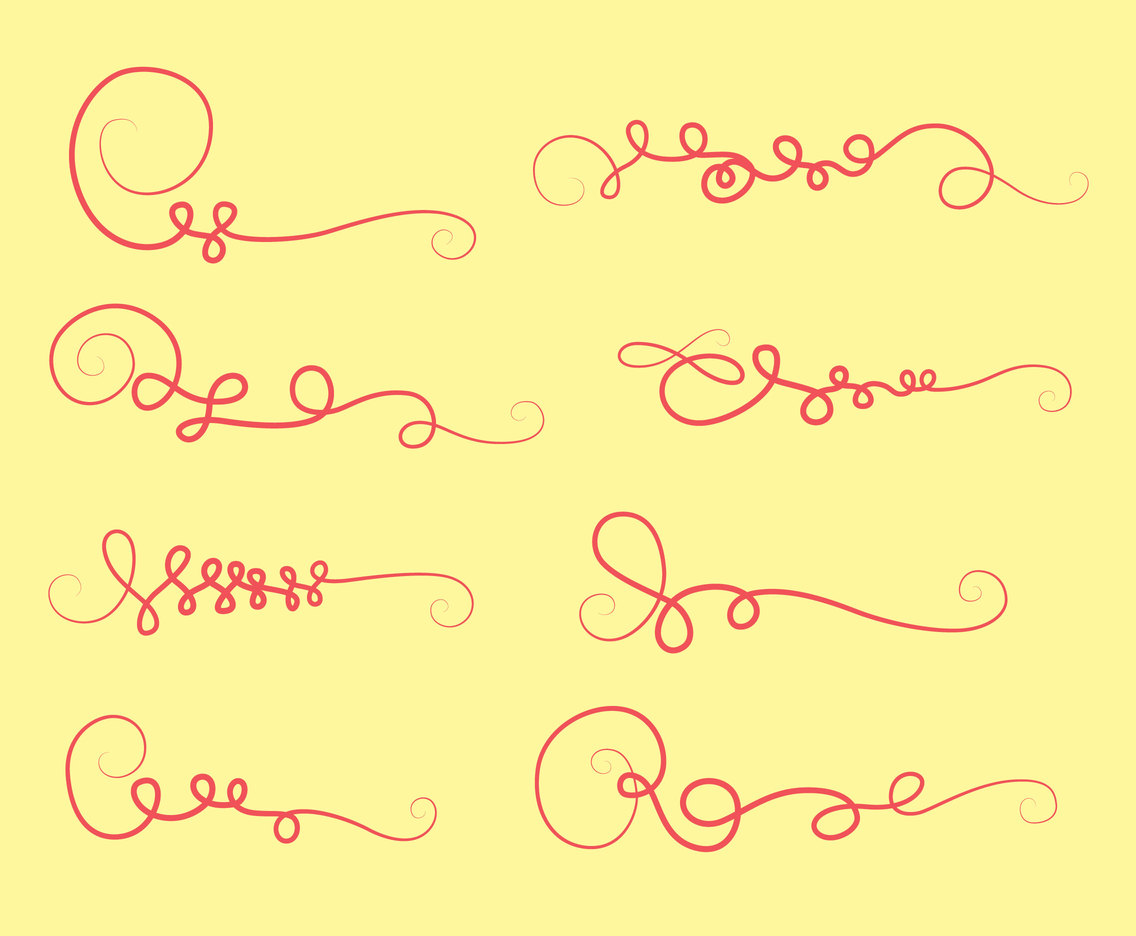 Pink Curlicues Ornament Collection Vector
