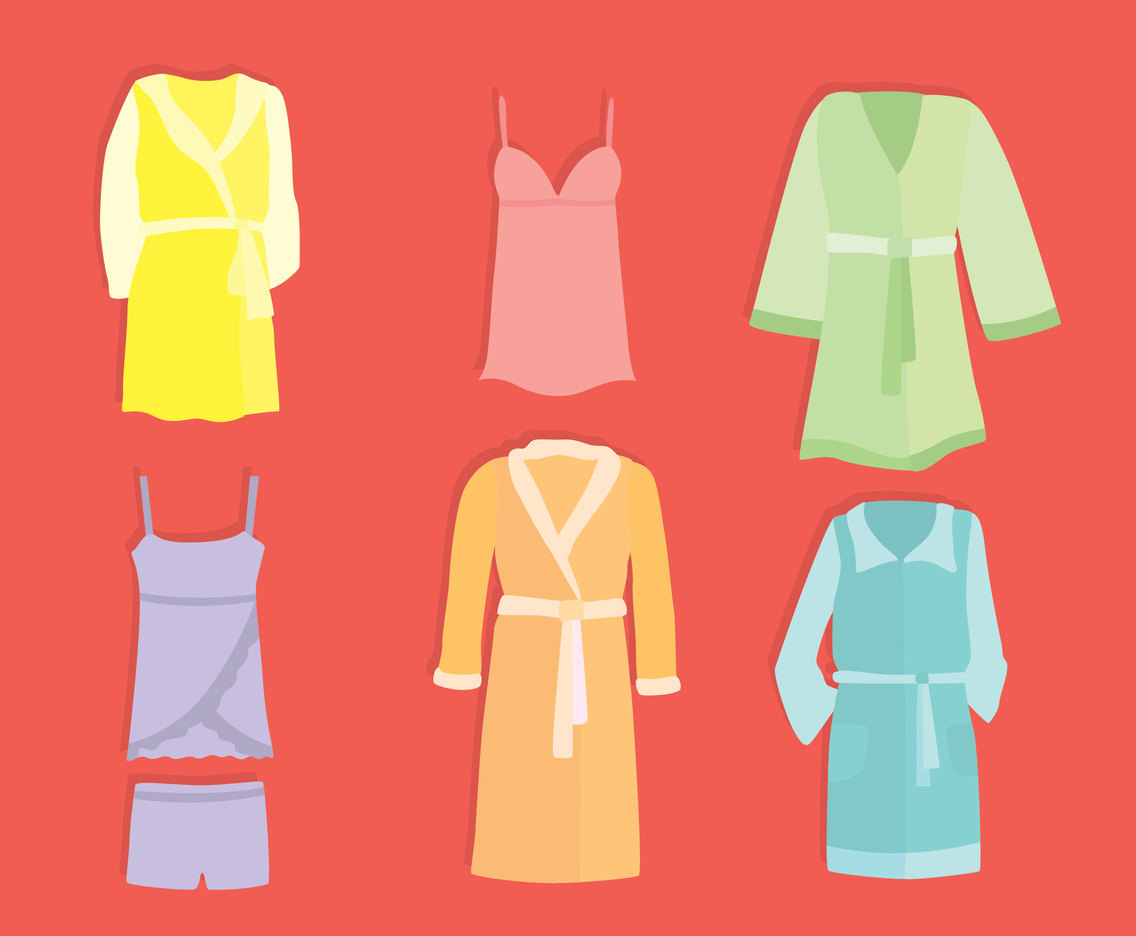 Colorful Bathrobe Collection Vector