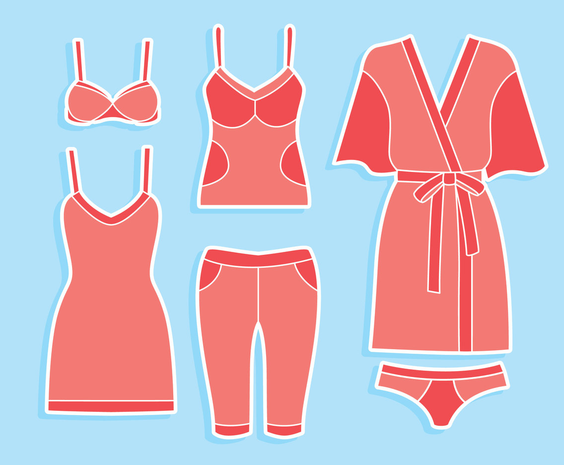 Woman Bathorbe And Underwear Vector Set
