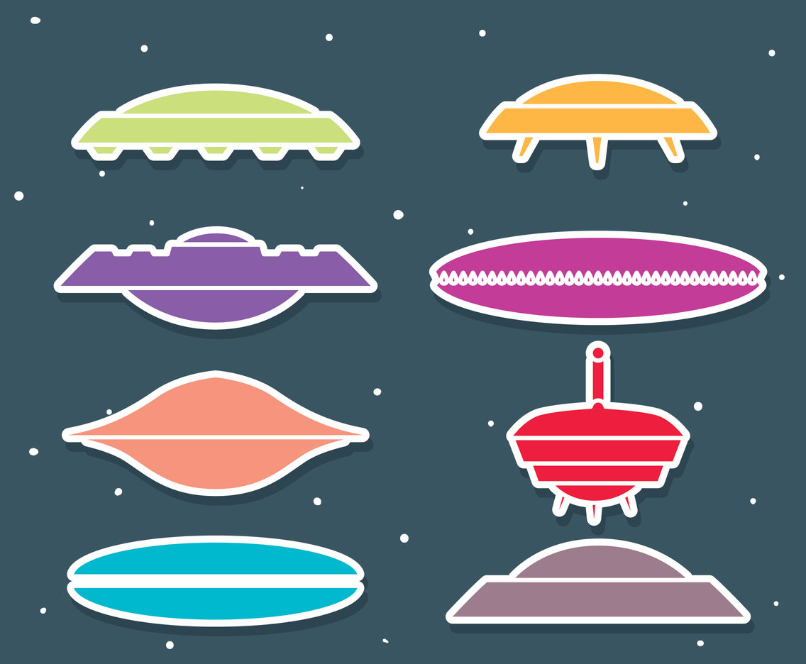 Colorful Ufo Vector Set