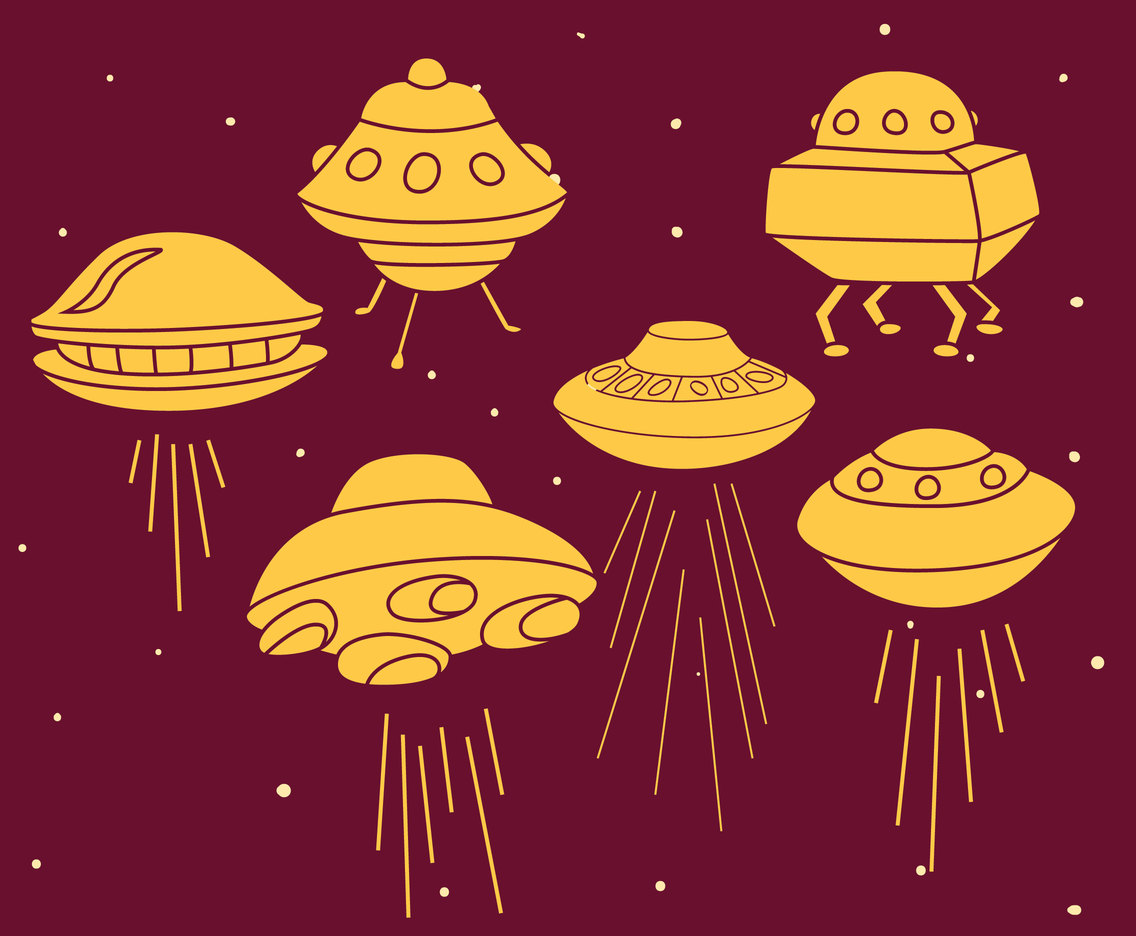 Hand Drawn Ufo Collection Vector