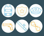 Police Element Line Icons Vector
