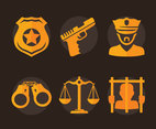 Police Element Icons Vector