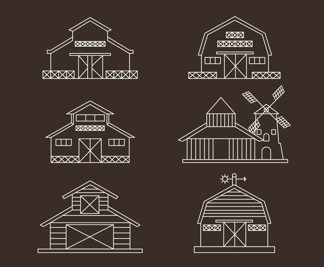 Barn Collection Line Vector
